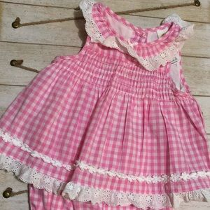 Pink gingham baby girl set